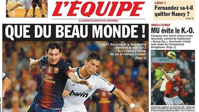 FC Barcelona y Real Madrid copan el once de 2012 de L'Équip