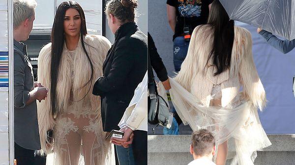 Fotos kim kardashian debuta en el cine con transparencia for Rihanna sin ropa interior