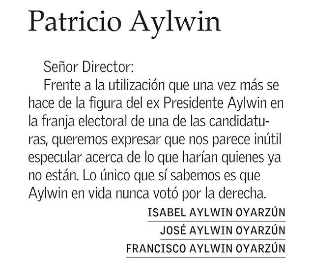 Familia Aylwin reclama contra Piñera por uso de la imagen de exPresidente