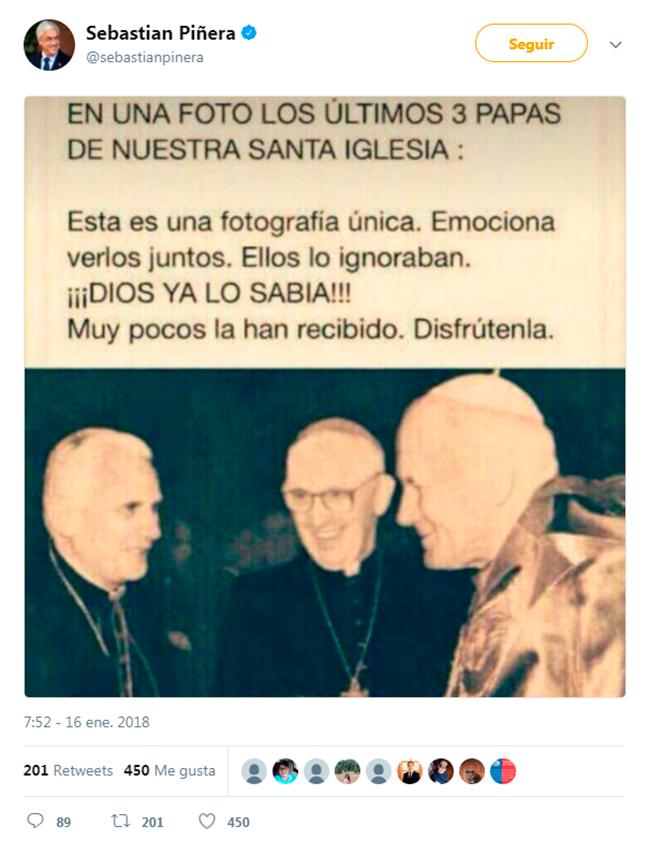 Piñera tuitea imagen manipulada de