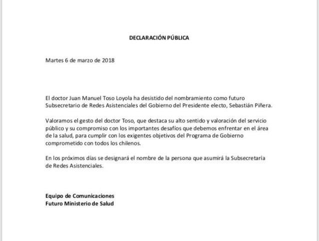 Subsecretario designado por Piñera renunció a días de asumir el cargo