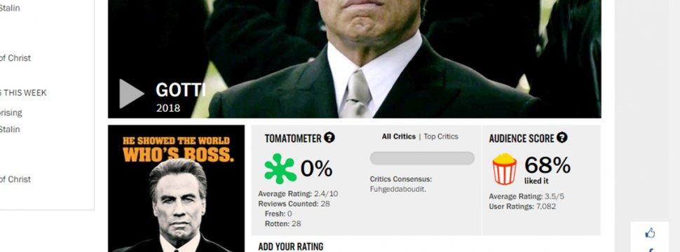 La nueva película de John Travolta obtuvo un rotundo 0% de aprobación