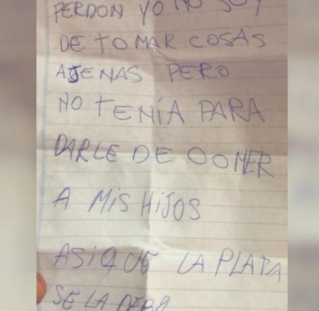 Un ladrón pidió disculpas con una carta por robar una billetera