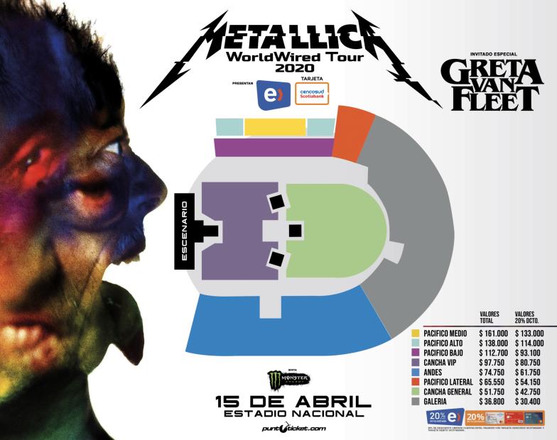 Metallica confirmó show en Chile: 15 de abril en el Estadio Nacional