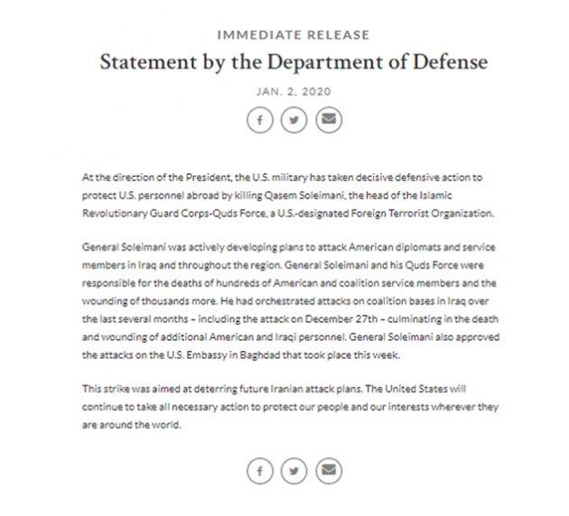 Diario oficial de Irán anunció