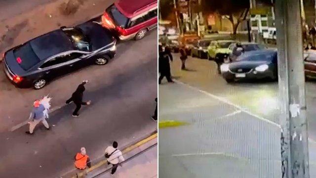 """Con botellas, piedras y cervezas, intentan """"fusilar"""" a ladrones de un auto en Lo Prado"""