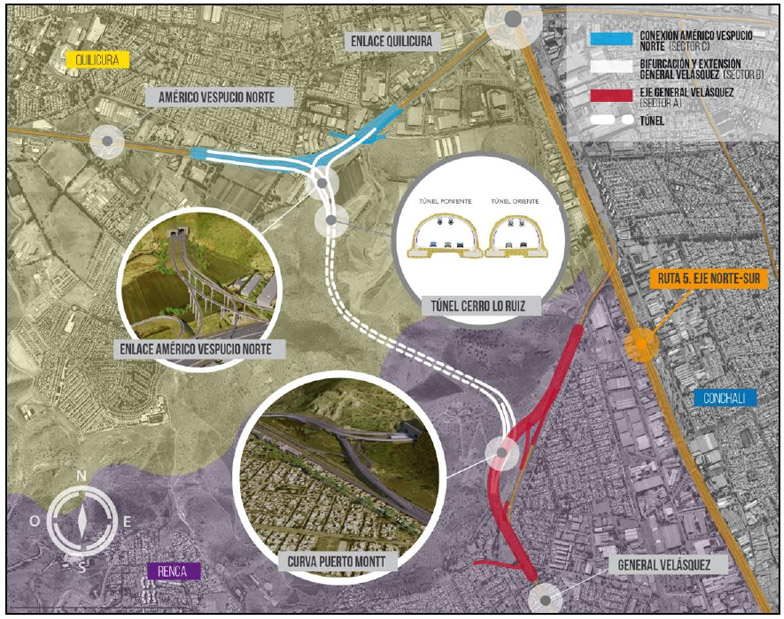 Autopista Central will build two one-way tunnels in Greater Santiago